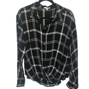 Maurice's Twist Front Plaid Button Long Sleeve